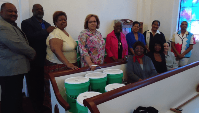 Officers and Members of Trinity Congregational Church, U.C.C. – standing, from left – Dana Harris, Moderator, Charles Harris, Chairperson of Diaconate, Cynthia Griffith, Lee Harris, Celestine Bridgeforth, Treasurer, Beverly Kirby, Mack David, Chairperson of Trustees, Constance Bridgeforth;  seated, from left – Ruth Harris, Annie Batts, Gloria Sloss.