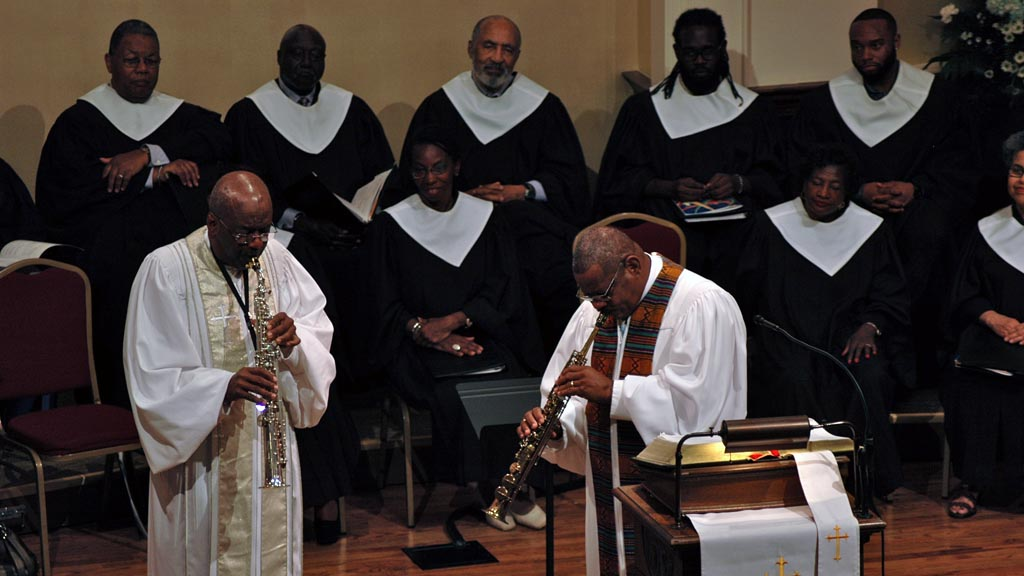 Rev. Dr. Ozzy Smith playing with Rev. Dr. Dwight Andrews at First Congregational Church UCC in Atlanta